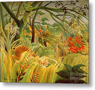Tiger In A Tropical Storm Metal Print by Henri Rousseau