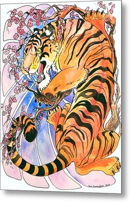 Metal Print featuring the painting Tiger In Cherries by Jenn Cunningham