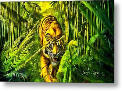 Tiger In The Forest - Da Metal Print