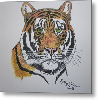 Metal Print featuring the painting Tiger by Kathy Marrs Chandler