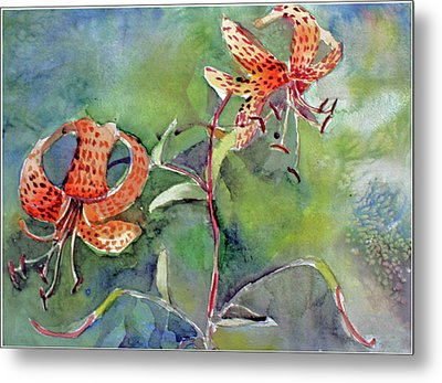 Metal Print featuring the painting Tiger Lilies by Mindy Newman