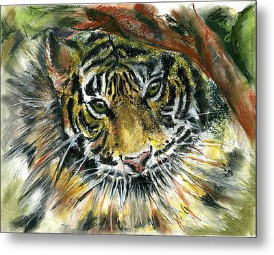 Metal Print featuring the painting Tiger by Marilyn Barton
