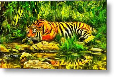Tiger Resting Metal Print by Leonardo Digenio