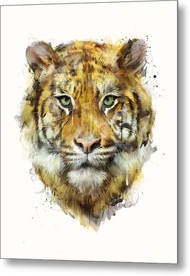 Tiger // Strength Metal Print by Amy Hamilton