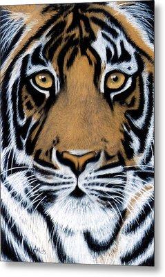 Tiger Tiger Burning Bright Metal Print by Jan Amiss