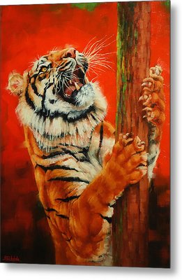 Tiger Tiger Burning Bright Metal Print by Margaret Stockdale