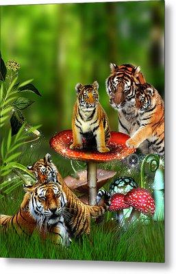 Tiger Toadstools Metal Print by Julie L Hoddinott