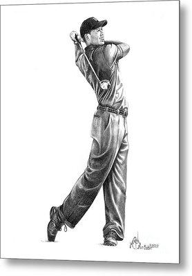 Tiger Woods Full Swing Metal Print by Murphy Elliott