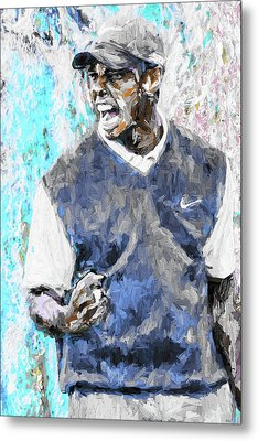 Metal Print featuring the photograph Tiger Woods One Blue Golfer Digital Art by David Haskett