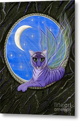 Metal Print featuring the painting Tigerpixie Purple Tiger Fairy by Carrie Hawks