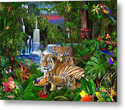 Tigers Of The Forest Metal Print by Gerald Newton