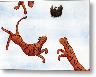 Tigers On A Trampoline Metal Print by Christy Beckwith