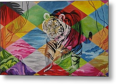 Tiger's Power Metal Print by Netka Dimoska