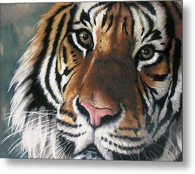 Metal Print featuring the pastel Tigger by Barbara Keith