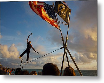 Tight Rope Walker In Key West Metal Print by Carl Purcell