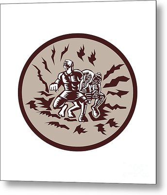 Tiitii Wrestling God Of Earthquake Circle Woodcut Metal Print by Aloysius Patrimonio