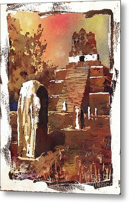 Metal Print featuring the painting Tikal Mayan Ruins- Guatemala by Ryan Fox