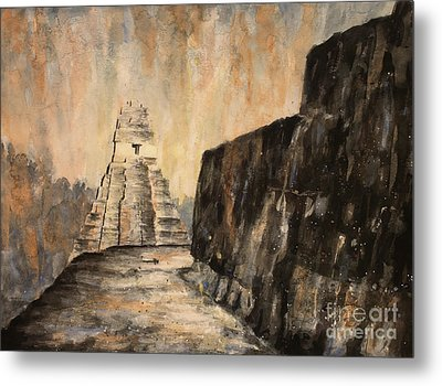 Metal Print featuring the painting Tikal Ruins- Guatemala by Ryan Fox