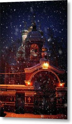 Tikhvin Church Gates. Snowy Days In Moscow Metal Print by Jenny Rainbow