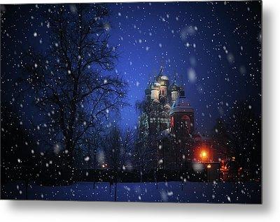Tikhvin Church. Snowy Days In Moscow Metal Print by Jenny Rainbow