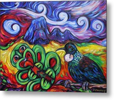 Tiki And Tui Under Mount Taratara Metal Print by Dianne  Connolly