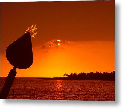 Tiki Lights In Kona Metal Print by Athala Carole Bruckner