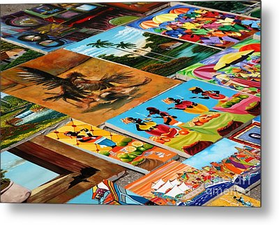 Tiled Canvasses Metal Print by Andy Smy