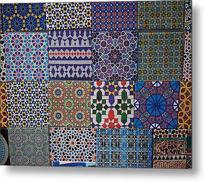Tiles For Sale In Market, Essaouira Metal Print by Panoramic Images