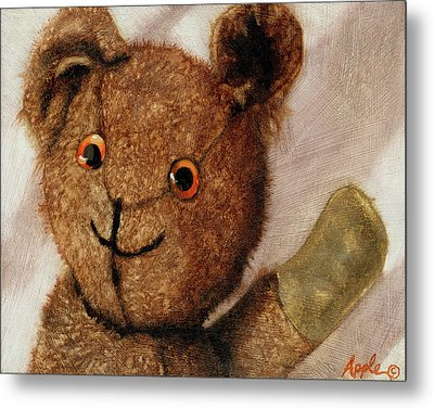Tillie - Vintage Bear Painting Metal Print by Linda Apple