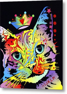 Tilted Cat Crowned Metal Print by Dean Russo