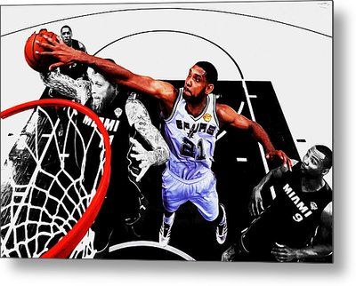 Tim Duncan And The Birdman Metal Print by Brian Reaves