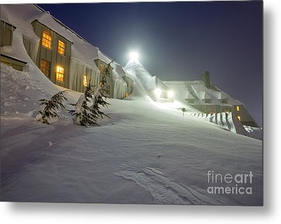 Timberline Lodge Mt Hood Snow Drifts At Night Metal Print by Dustin K Ryan