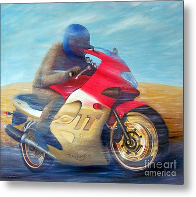 Time And Space Equation - Triumph 600tt Metal Print by Brian  Commerford