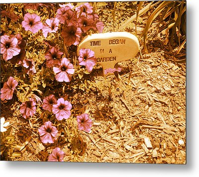 Time Began In A Garden Metal Print by Utopia Concepts