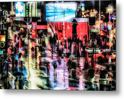 Time Square In The Rain Metal Print