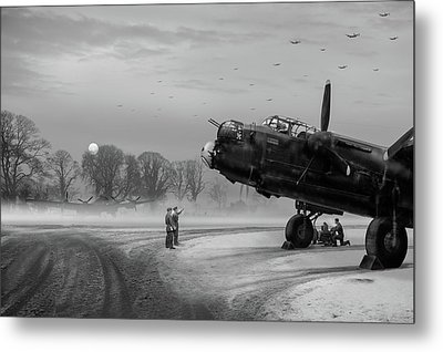 Metal Print featuring the photograph Time To Go - Lancasters On Dispersal Bw Version by Gary Eason