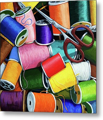 Metal Print featuring the painting Time To Sew - Colorful Threads by Linda Apple
