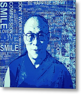 Timeless Wisdom - Retro Pop Art, Blue Metal Print by Stacey Chiew