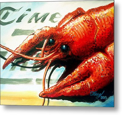 Times Picayune Crawfish Metal Print by Terry J Marks Sr