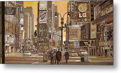 Times Square Metal Print by Guido Borelli