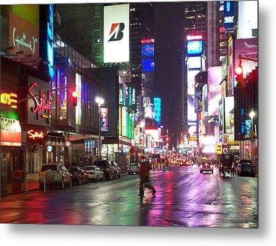 Times Square In The Rain 2 Metal Print by Anita Burgermeister