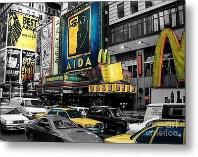 Times Square Nyc Metal Print by Guy Harnett