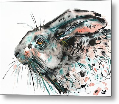 Metal Print featuring the painting Timid Hare by Zaira Dzhaubaeva