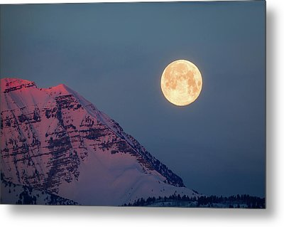 Metal Print featuring the photograph Timpanogos With The Pink Moon. by Johnny Adolphson