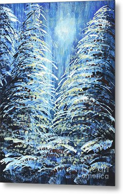 Metal Print featuring the painting Tim's Winter Forest by Holly Carmichael