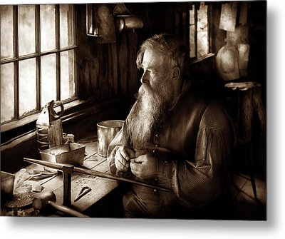 Tin Smith - Making Toys For Children - Sepia Metal Print by Mike Savad