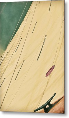 Green Tinted Horizon Sail Portrait Metal Print