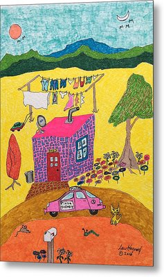 Tiny House With Clothesline Metal Print