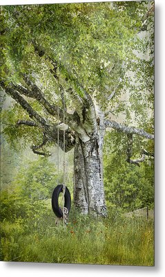 Tire Swing Hanging Off A White Birch Metal Print