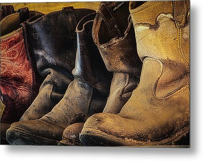 Tired Boots Metal Print by Laura Pratt